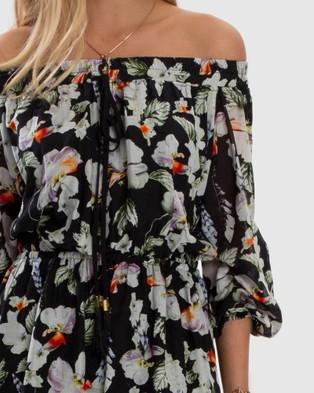 Aqua Blu Australia Arcadia Off Shoulder High Low Dress - Printed Dresses (Black)