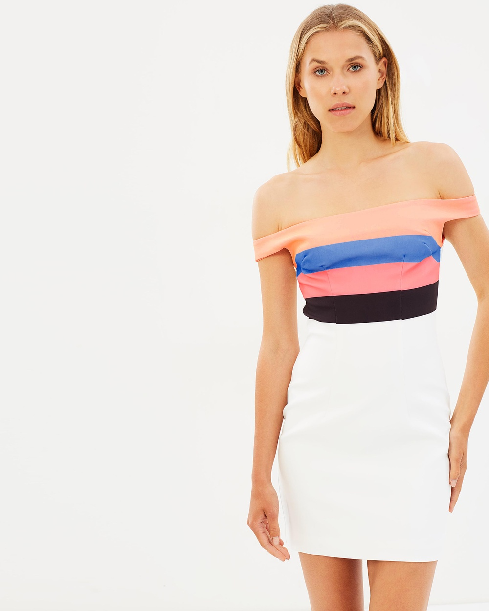 BY JOHNNY. Neon Stripe Cold Shoulder Mini Dress Bodycon Dresses Neon Stripe White Neon Stripe Cold Shoulder Mini Dress