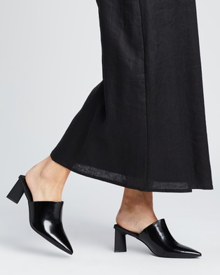 AERE Pointed Toe Leather Mule Heels - Mid-low heels (Black Box Leather)