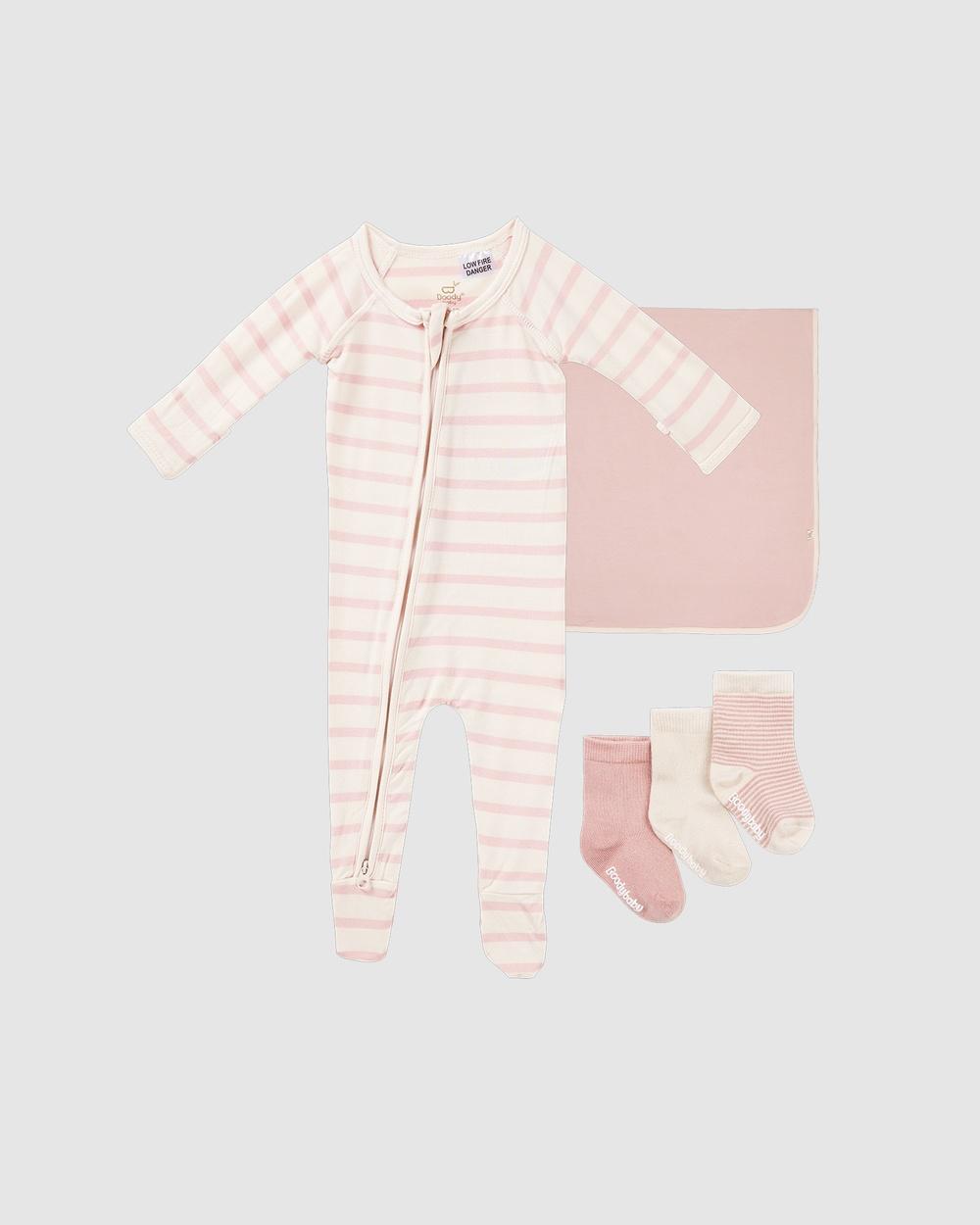 Boody Everything Bub Needs Gift Set 3 Items Wraps & Blankets Rose/Rose Stripe