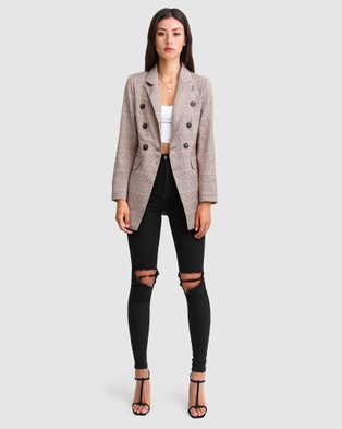 Belle & Bloom Too Cool For Work Plaid Blazer - Suits & Blazers (Brown)