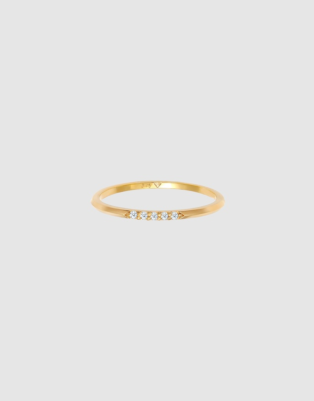 Women Ring Band Ring Elegant Fine with Diamonds(0.03 ct) in 375 Gold