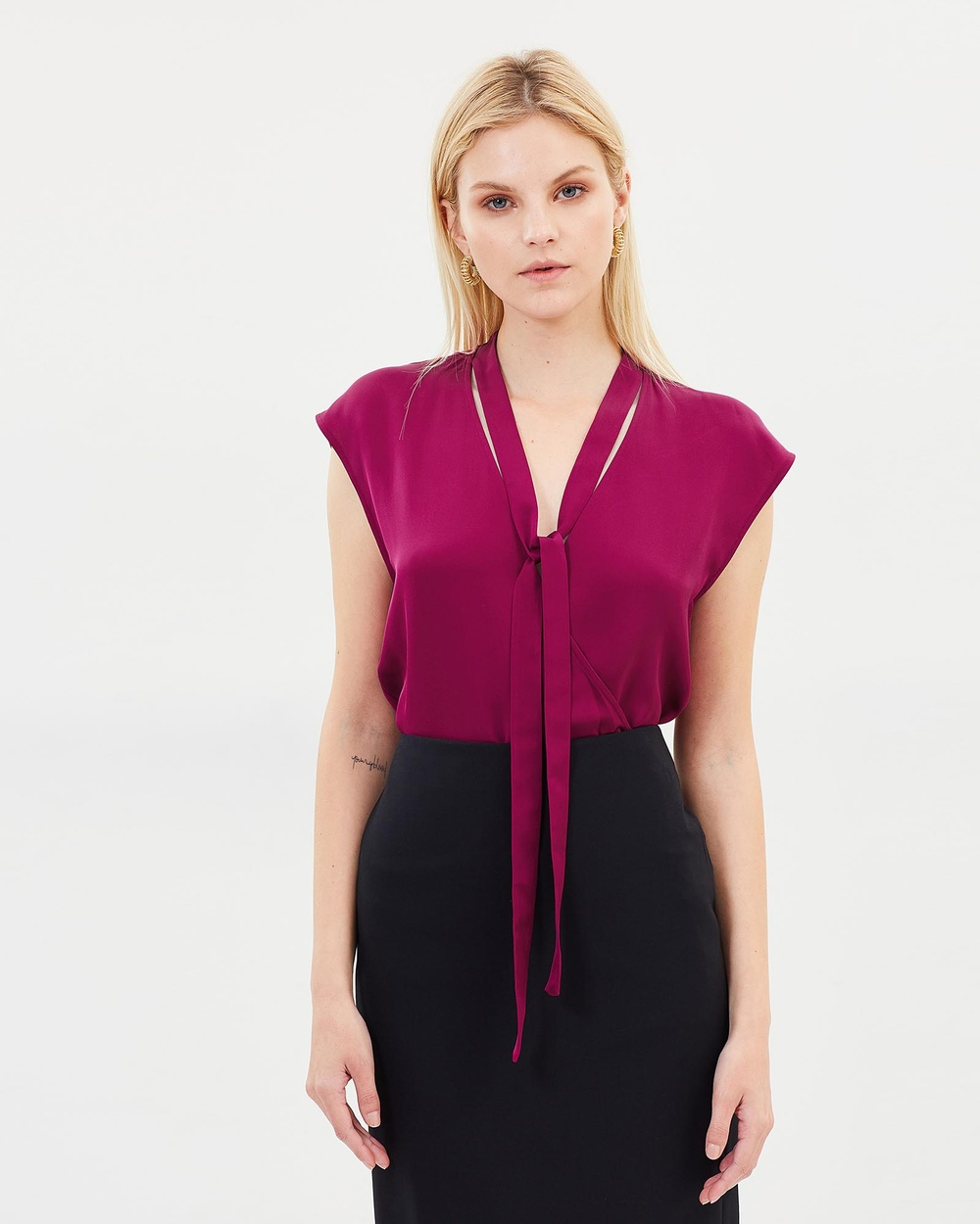 Theory Relaxed Wrap V SL Tops Bright Pink Relaxed Wrap V SL
