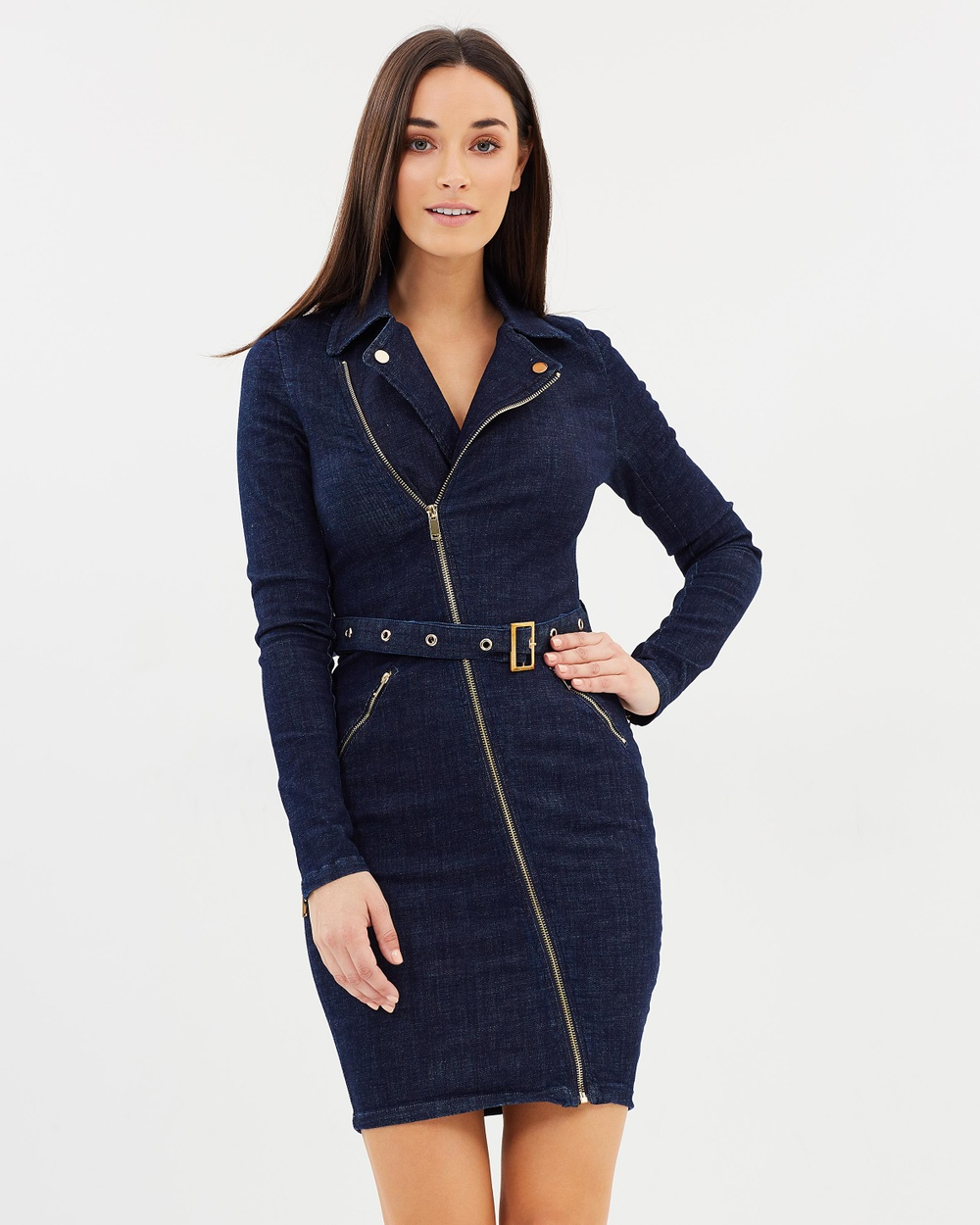 Fresh Soul Soho Biker Dress Bodycon Dresses Dark Denim Soho Biker Dress