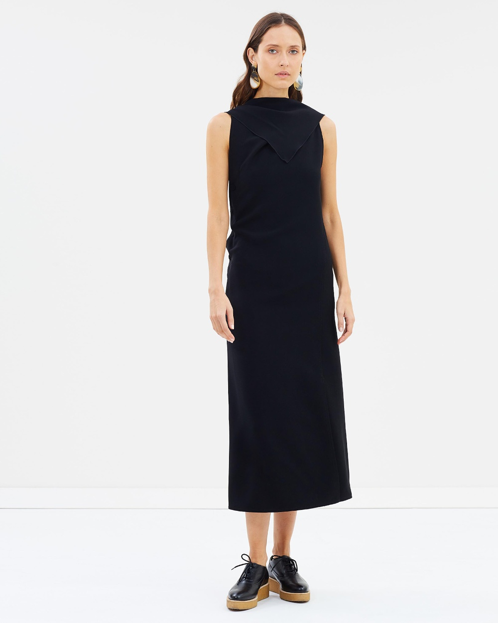 Joseph Ceil Fluid Twill Dress Dresses Black Ceil Fluid Twill Dress
