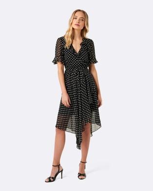 Forever New – Dianne Spot Wrap Dress – Dresses (Black & White Spot)