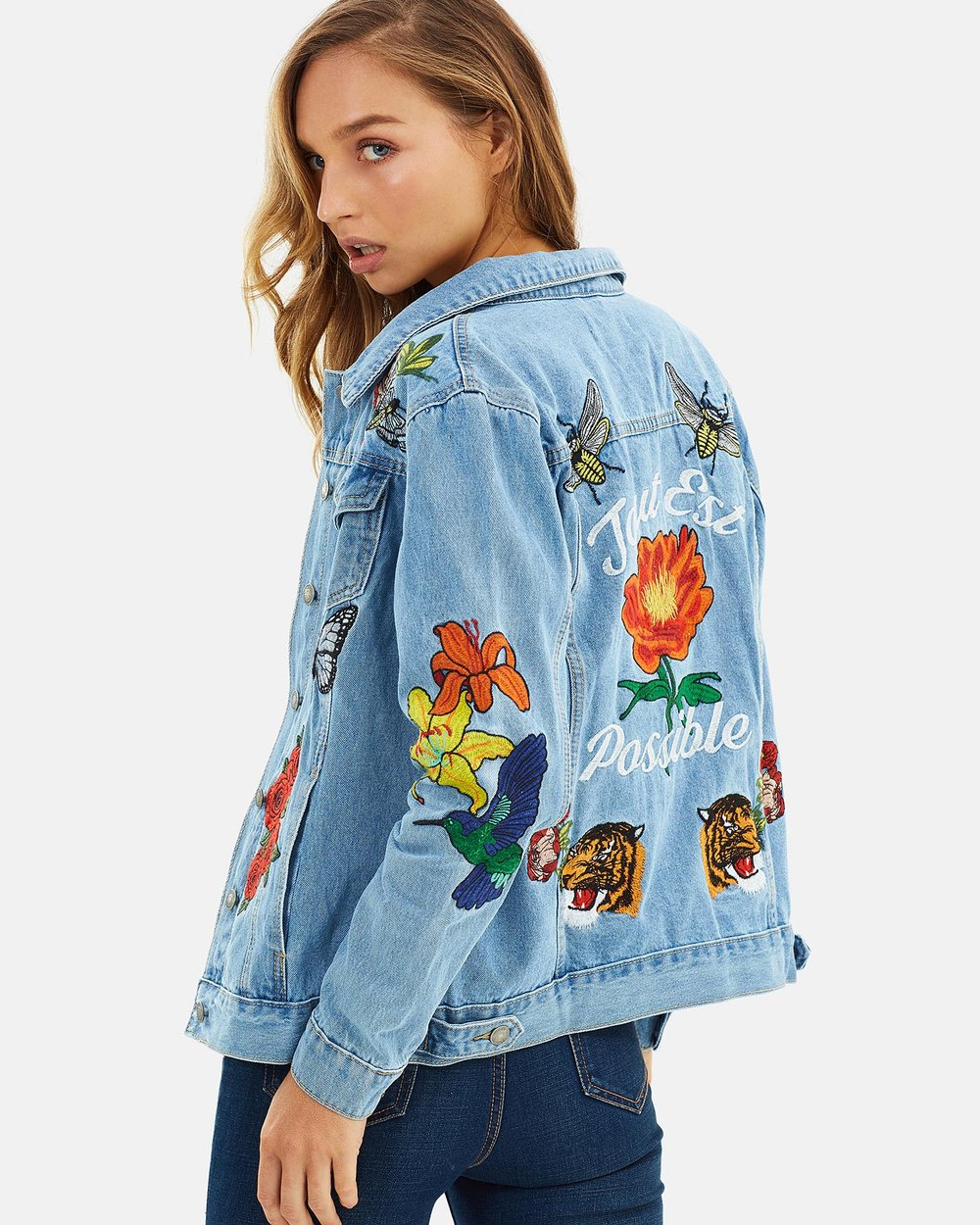 Shoptagr Rose Embroidered Denim Jacket By Glamorous