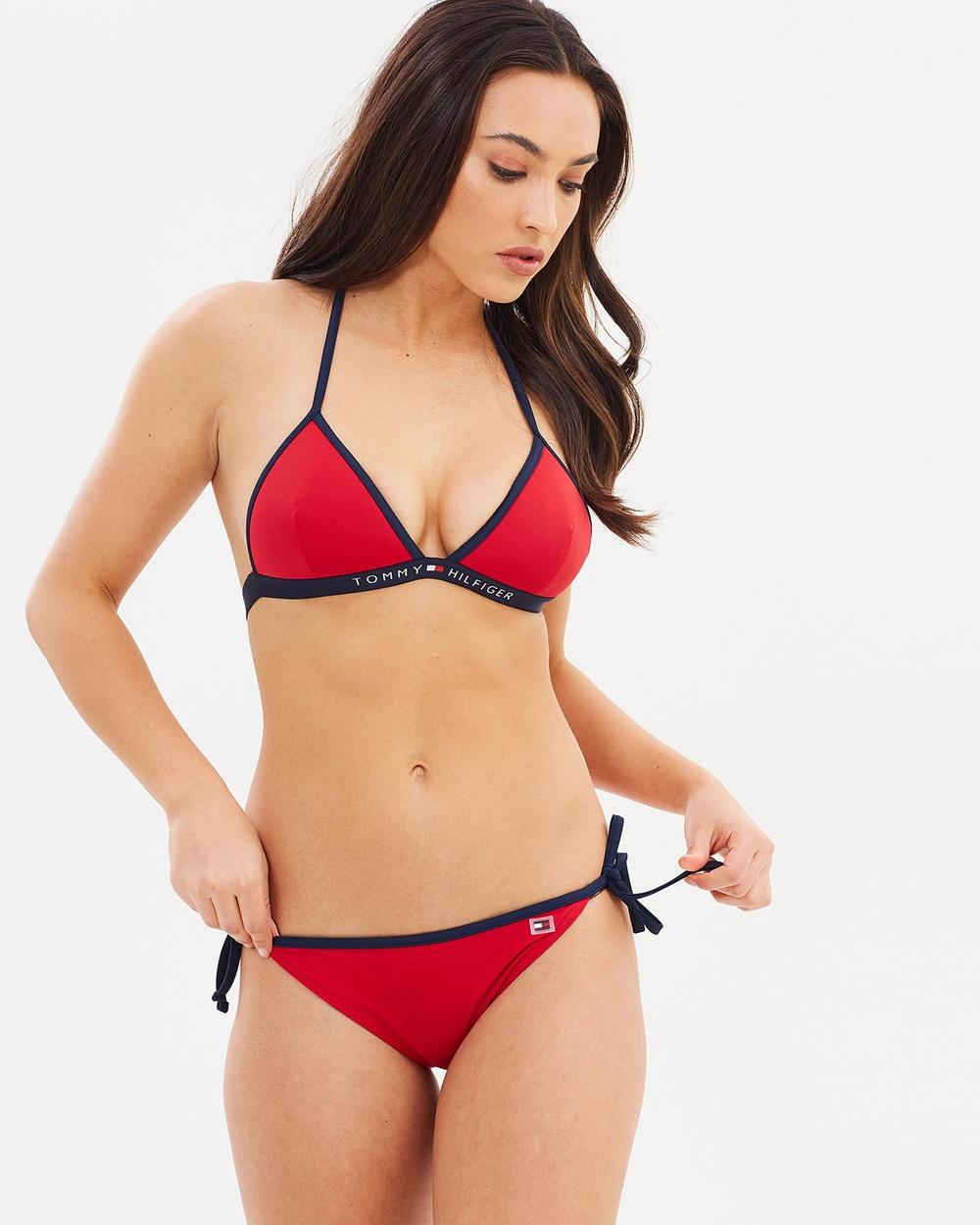 Tommy Hilfiger Cheeky String Side Tie Bikini Bikini Bottoms Tango Red & Navy Blazer Cheeky String Side Tie Bikini