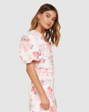 Forever New - Elena Puff Sleeve Co ord - Tops (Peach Blossom Floral) Elena Puff Sleeve Co-ord
