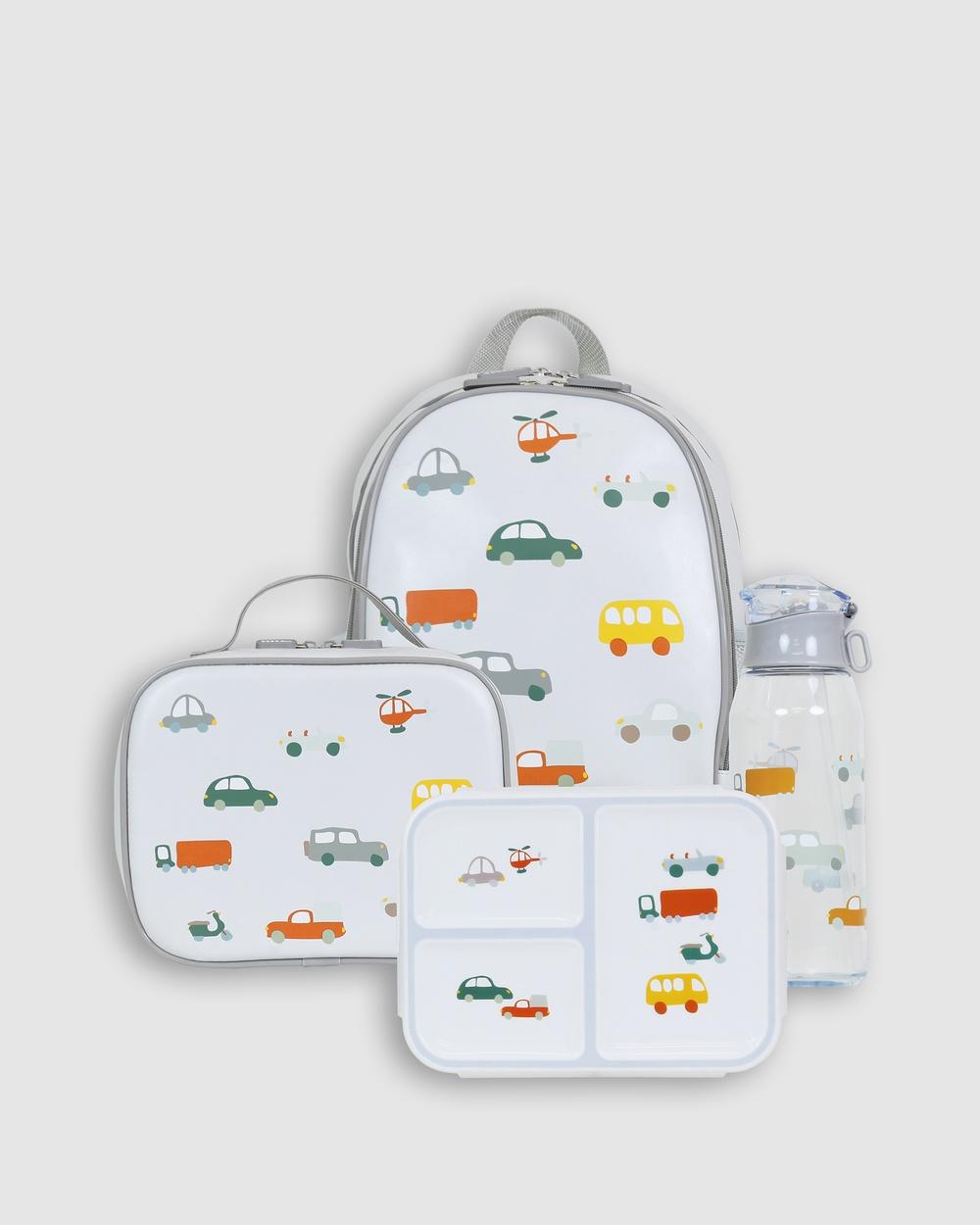 Bobbleart Large Backpack Lunch Bag Bento Box and Drink Bottle Traffic Backpacks Light Blue