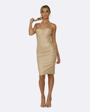 Honey Couture – Amina Nude Vegan Leather Bodycon Dress – Bodycon Dresses (Nude)