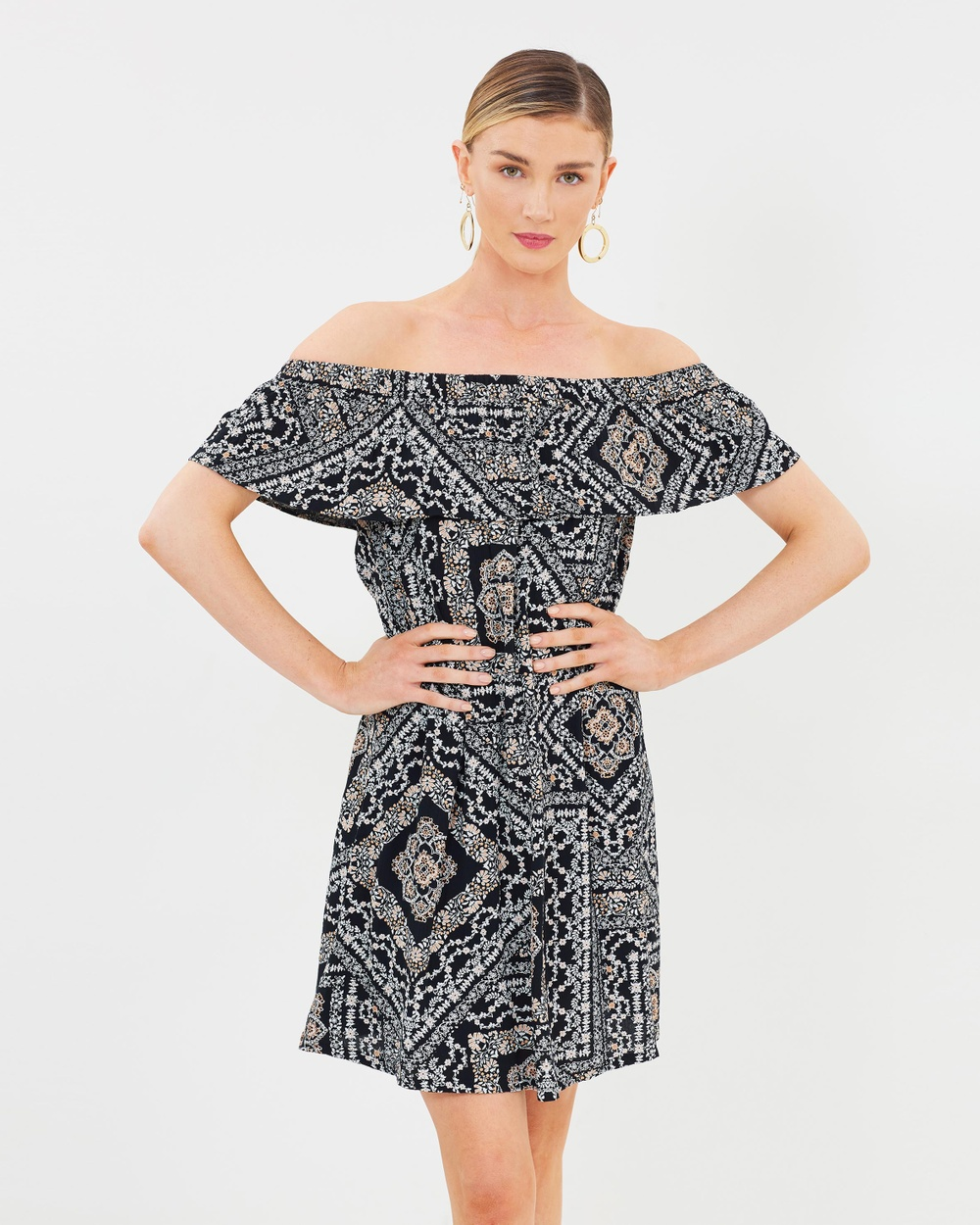 Dorothy Perkins Paisley Bardot Dress Printed Dresses Black Paisley Bardot Dress