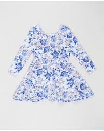 Rock Your Kid - Oriental Floral Long Sleeve Waisted Dress - Kids