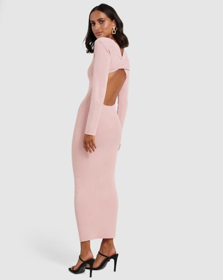 BY JOHNNY. - Tina Twist Scoop Back Evening Knit Dress - Bodycon Dresses (Soft Pink) Tina Twist Scoop Back Evening Knit Dress