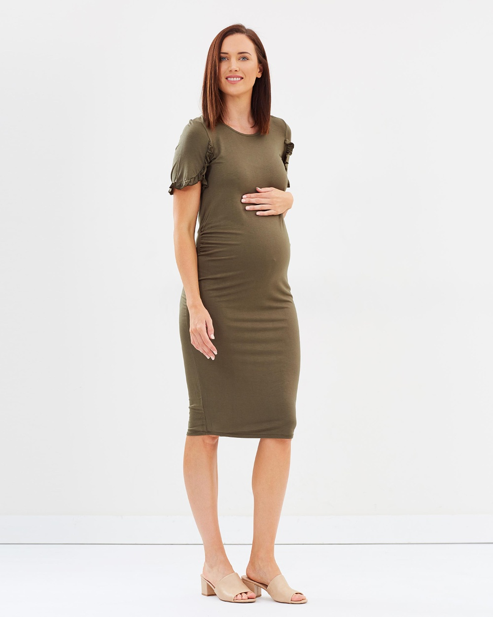 DP Maternity Ruffle Bodycon Dress Bodycon Dresses New Khaki Ruffle Bodycon Dress
