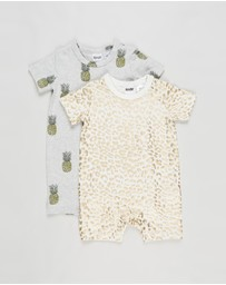 Cotton On Baby - 2-Pack Short Sleeve Romper - Babies
