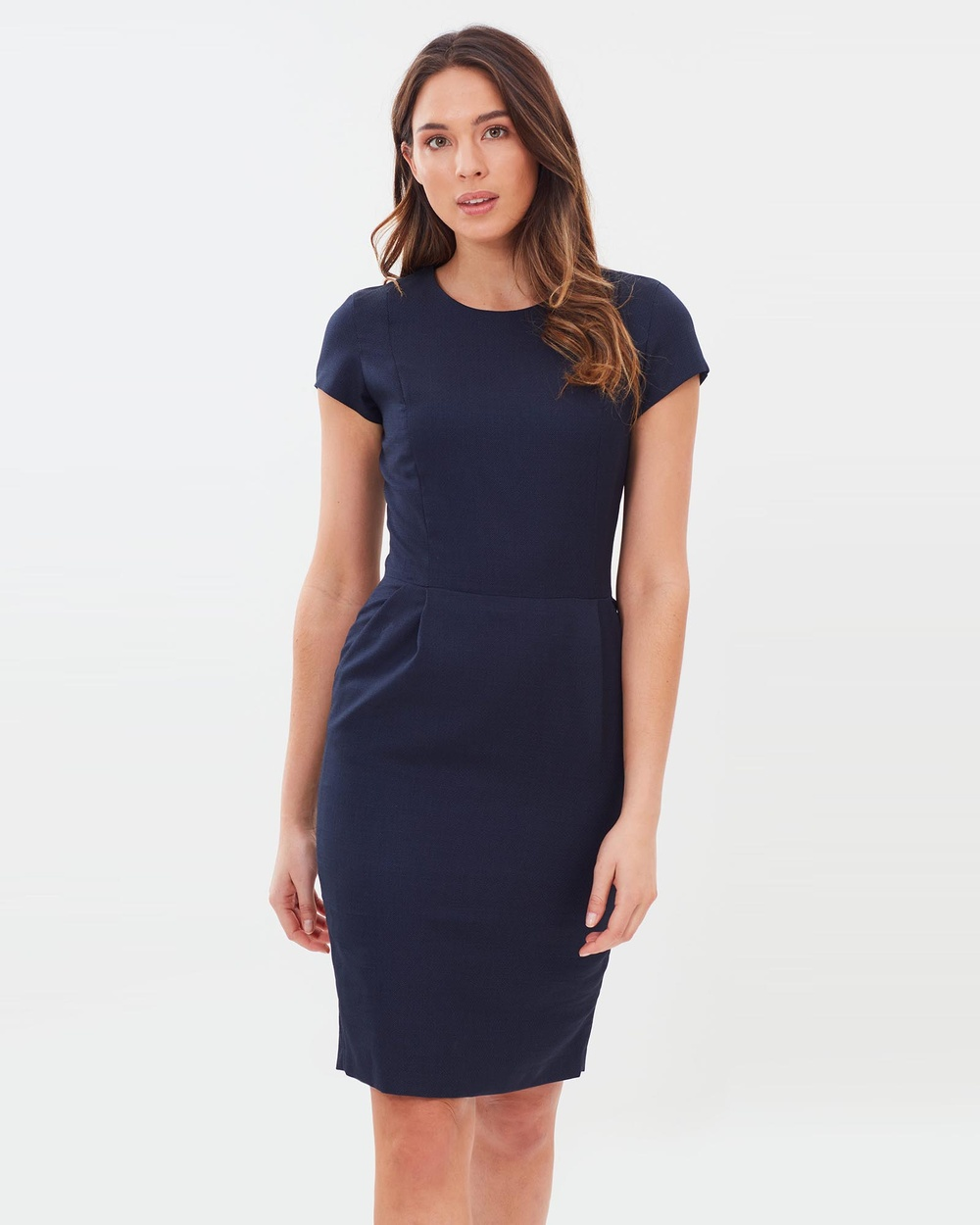 Farage Navy Lane Birdseye Dress