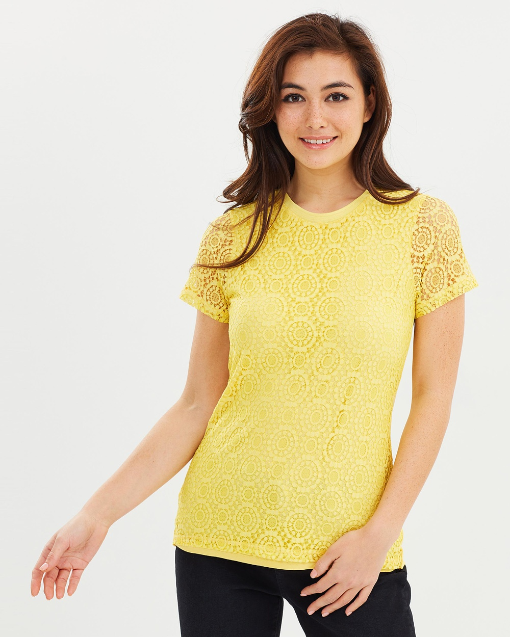 Dorothy Perkins Rib Lace Tee Tops Yellow Rib Lace Tee