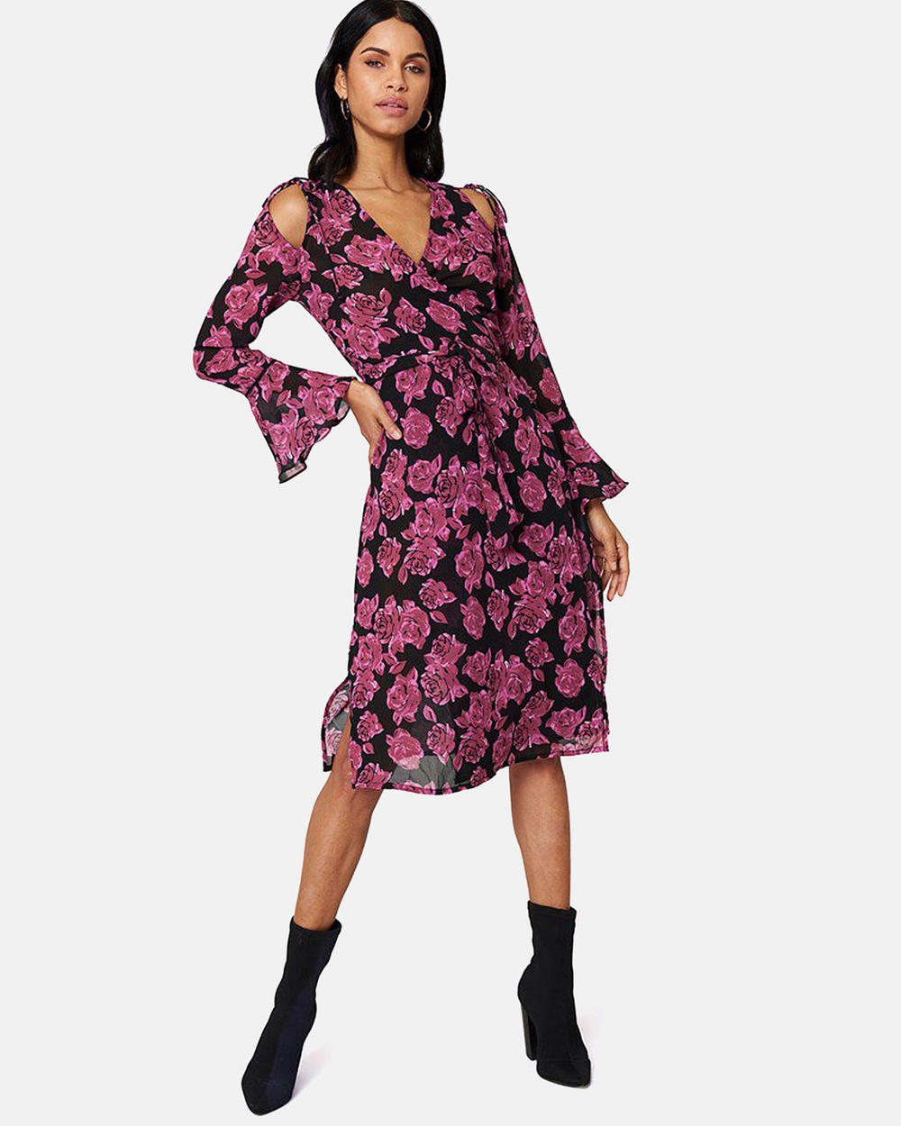 NA-KD Tie Sleeve Caftan Dress Printed Dresses Burgundy Roses Tie Sleeve Caftan Dress
