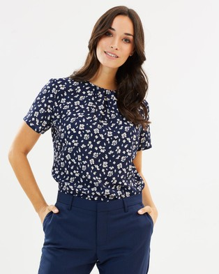 Farage – Allegra Floral Top – Tops (Navy)