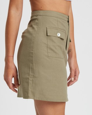 The Fated Kya Mini Skirt - Skirts (Khaki)