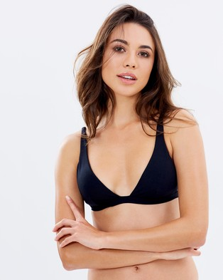 JETS – Plunge Longline Triangle Top – Bikini Tops (Black)