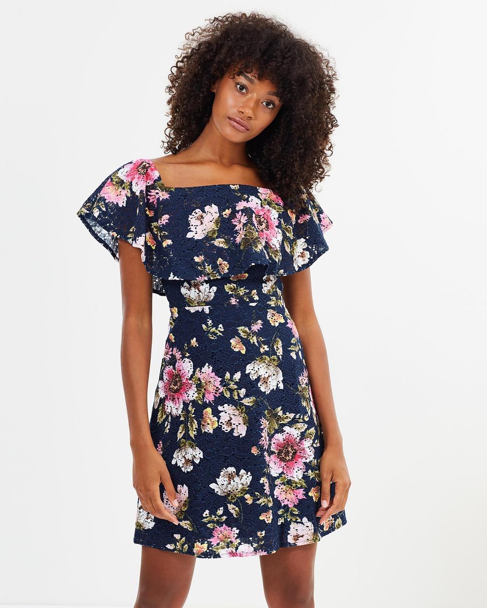 Warehouse Floral Lace Bardot Dress Dresses Navy Floral Lace Bardot Dress
