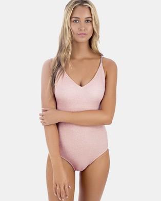 Indaia Swim – Lurex Onda One Piece Swimsuit – One-Piece Swimsuit Pink