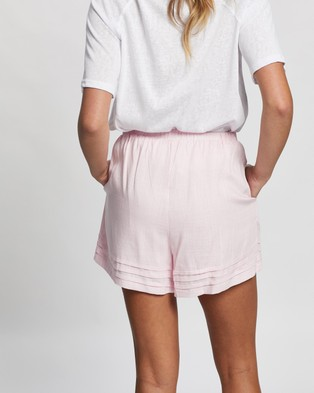 Atmos&Here Sarah Linen Blend Shorts - High-Waisted (Soft Pink)