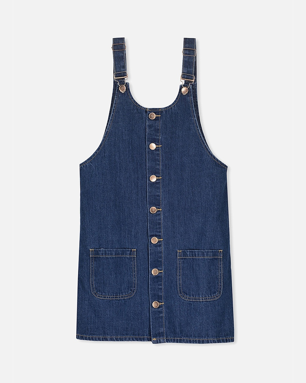 Free by Cotton On Mid Blue Demi Denim Pinafore – Teen
