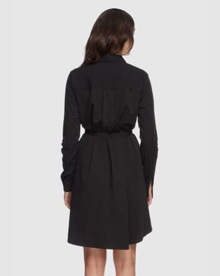Bamboo Body Woven Shirt Dress - Dresses (Black)