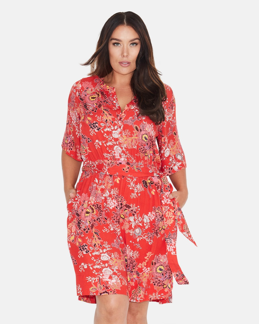 17 Sundays Oriental Floral Dress Printed Dresses Red Oriental Floral Dress