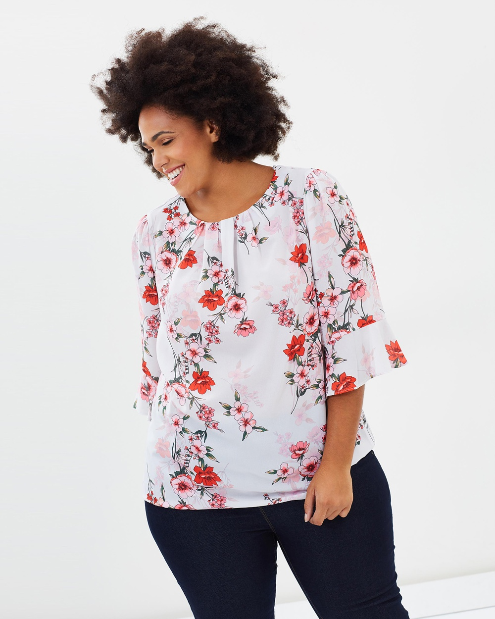 DP Curve Shadow Floral Top Tops White Shadow Floral Top