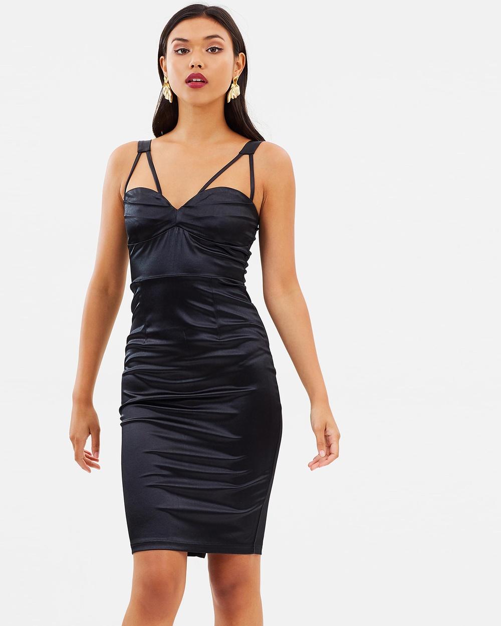 Missguided Black Satin Strap Detail Midi Dress Bodycon Dresses Black Black Satin Strap Detail Midi Dress