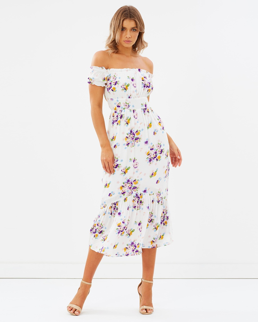 Atmos & Here ICONIC EXCLUSIVE Addilyn Off Shoulder Dress Printed Dresses Violette White Base ICONIC EXCLUSIVE Addilyn Off-Shoulder Dress