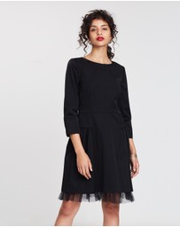 J.Crew - Long Sleeve Sheath Dress with Tulle Hem