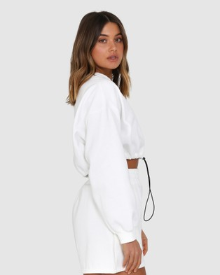 BY.DYLN Ollie Cropped Sweater - Crew Necks (White)