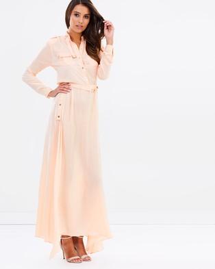 Ivory and Chain – Cara Silky Maxi Dress – Dresses (Peach)