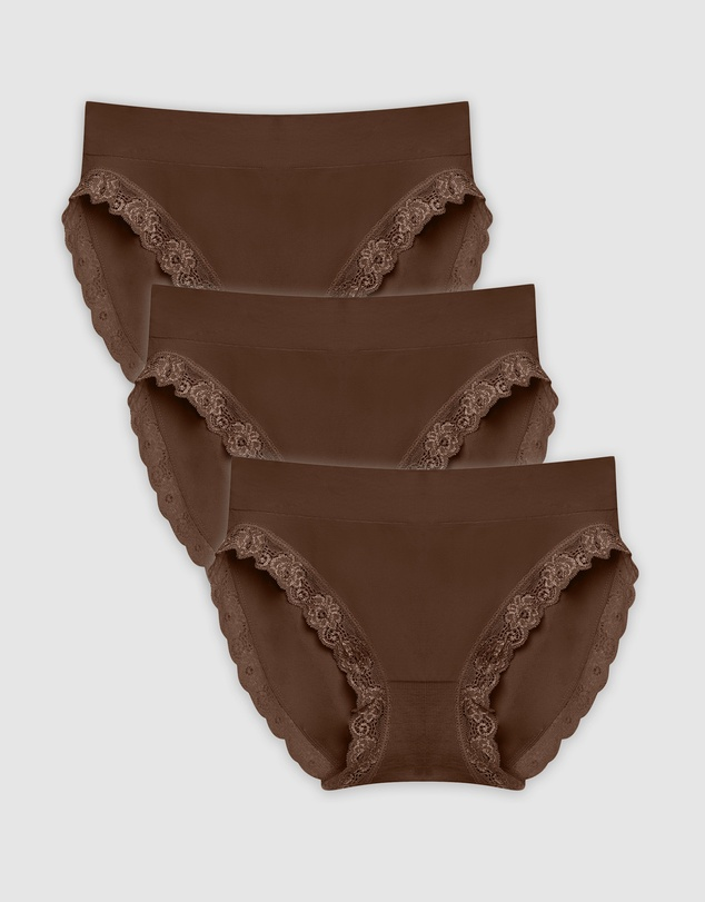 B Free Intimate Apparel - Contour Lace High Cut Briefs - 3 Pack