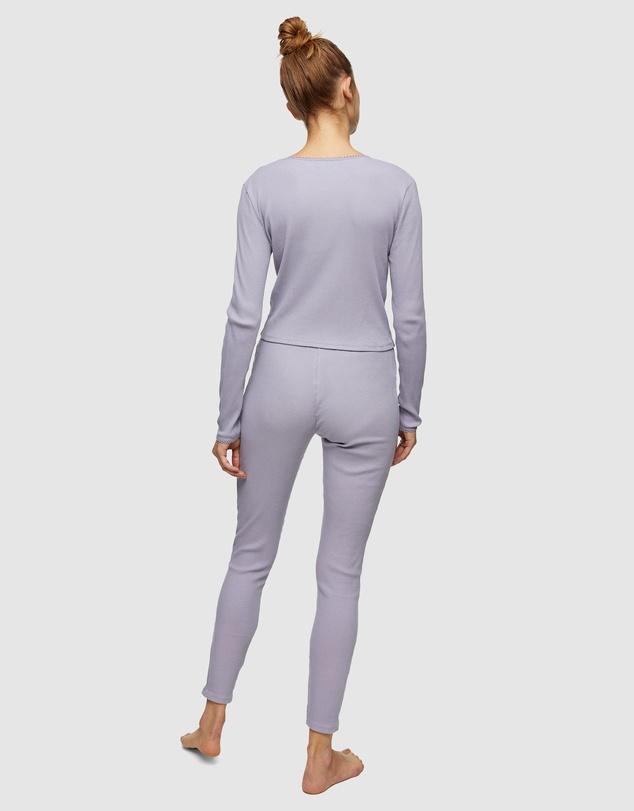 Women Ribbed Picot Long Sleeve Pyjama Set