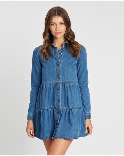Atmos&here Dana Denim Dress Mid Blue