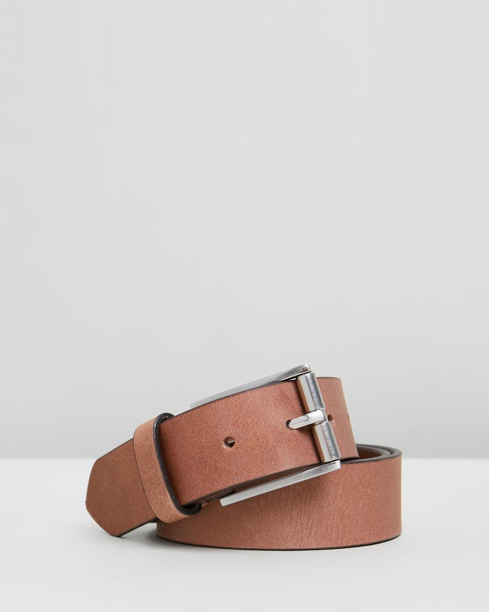 Double Oak Mills Smooth Leather 35mm Belt Belts Tan & Silver