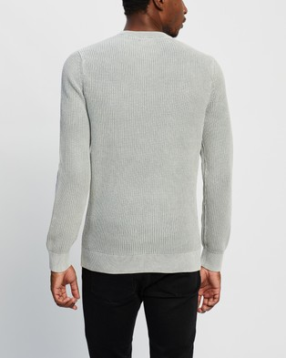 Superdry Academy Dyed Texture Crew Jumper - Jumpers & Cardigans (Washed Skylark)