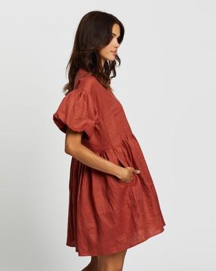 AERE - Puff Sleeve Smock Dress Dresses (Rust)