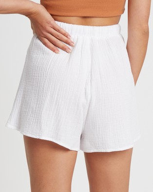 The Fated Luna Shorts - High-Waisted (White)