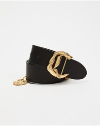 Camilla - C Buckle Leather Belt With Chain