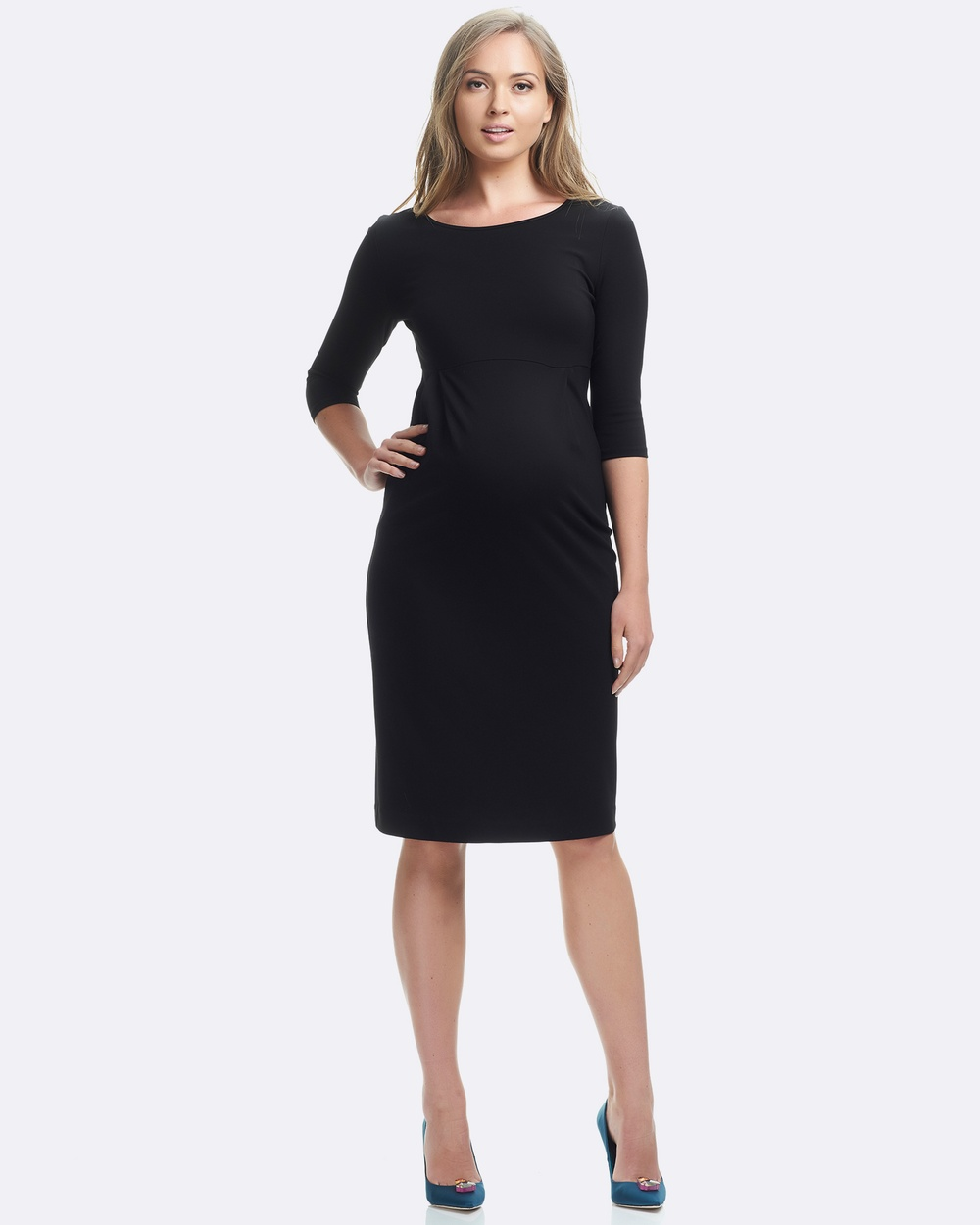 Soon Maternity Annie 3 4 Sleeve Dress Dresses Black Annie 3-4 Sleeve Dress