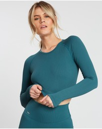 Aim'n - Ribbed Seamless Crop Long Sleeve Top