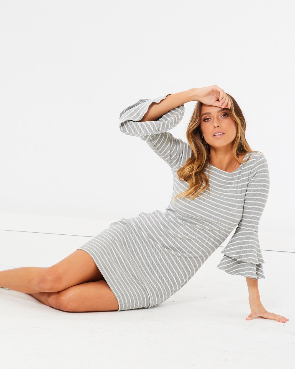 Calli Ange Layered Knit Dress Bodycon Dresses Grey and White Stripe Ange Layered Knit Dress