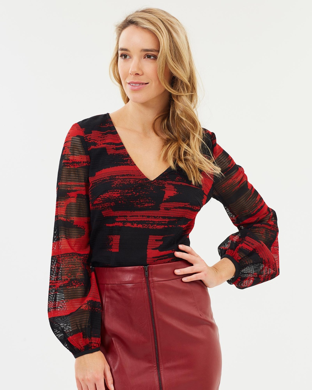 Honey and Beau Spectra Top Tops Red Print Spectra Top